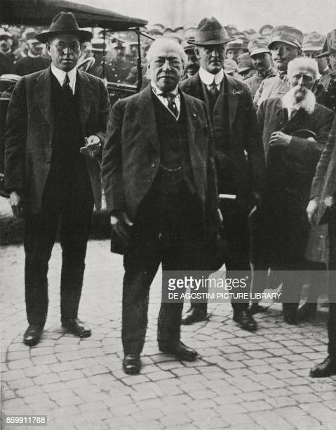 American Trade Union leader Samuel Gompers visiting the Capitol Rome Italy from l'Illustrazione Italiana Year XLV No 42 October 20 1918