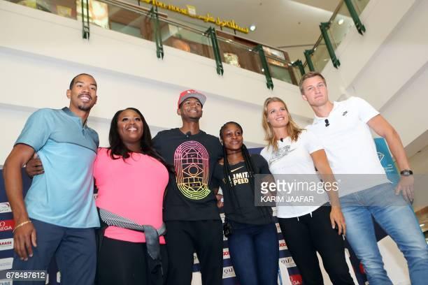 American triple jump athlete Christian Taylor American shot putter Michelle Carter Qatari high jump athlete Mutaz Barshim Jamaican sprinter Elaine...