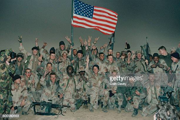American troops celebrate after taking Kuwait during the Gulf War 1991
