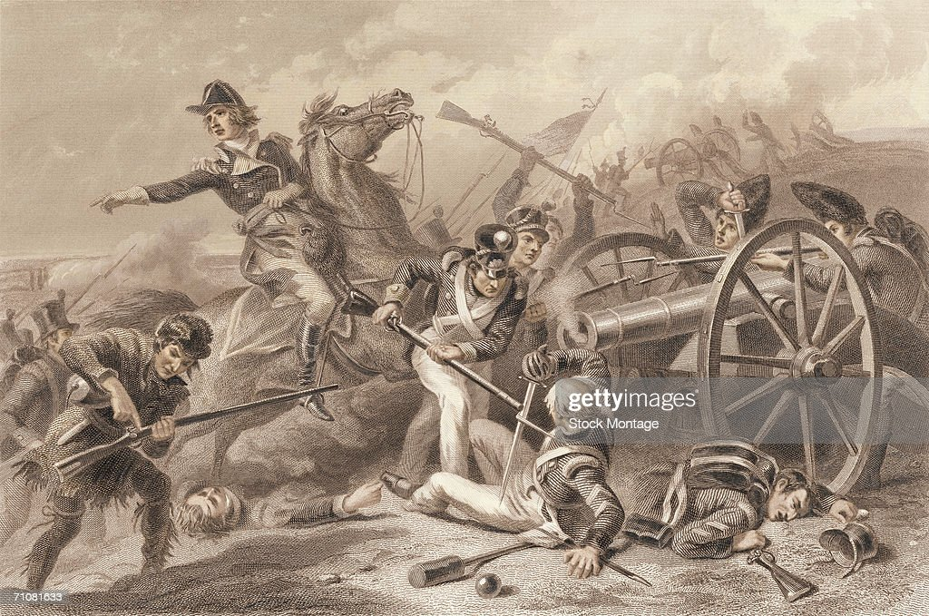 American troops defeat the British in the Battle of Chippawa during the War of 1812 Ontario Canada July 5 1814