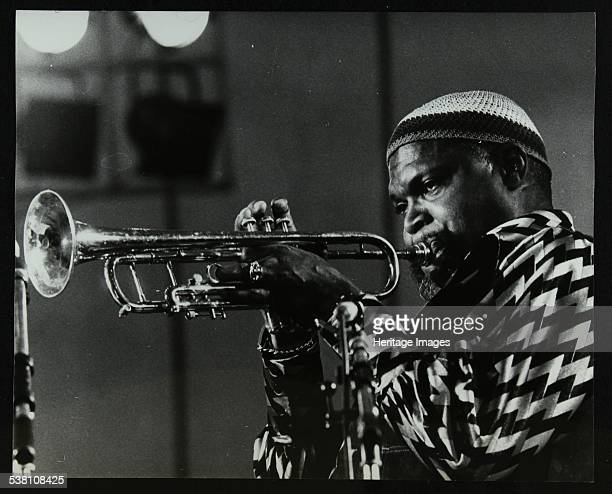 American trumpeter Ted Curson playing at the Bracknell Jazz Festival Berkshire 1983 Artist Denis Williams