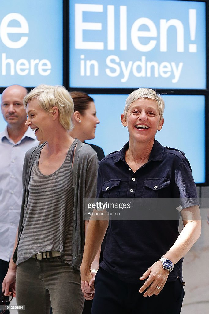 American TV personality <a gi-track='captionPersonalityLinkClicked' href=/galleries/search?phrase=Ellen+DeGeneres&family=editorial&specificpeople=171367 ng-click='$event.stopPropagation()'>Ellen DeGeneres</a> and Australian actress <a gi-track='captionPersonalityLinkClicked' href=/galleries/search?phrase=Portia+de+Rossi&family=editorial&specificpeople=204197 ng-click='$event.stopPropagation()'>Portia de Rossi</a> arrive at Sydney Airport on March 22, 2013 in Sydney, Australia. DeGeneres is in Australia to film segments for her TV show, 'Ellen'.