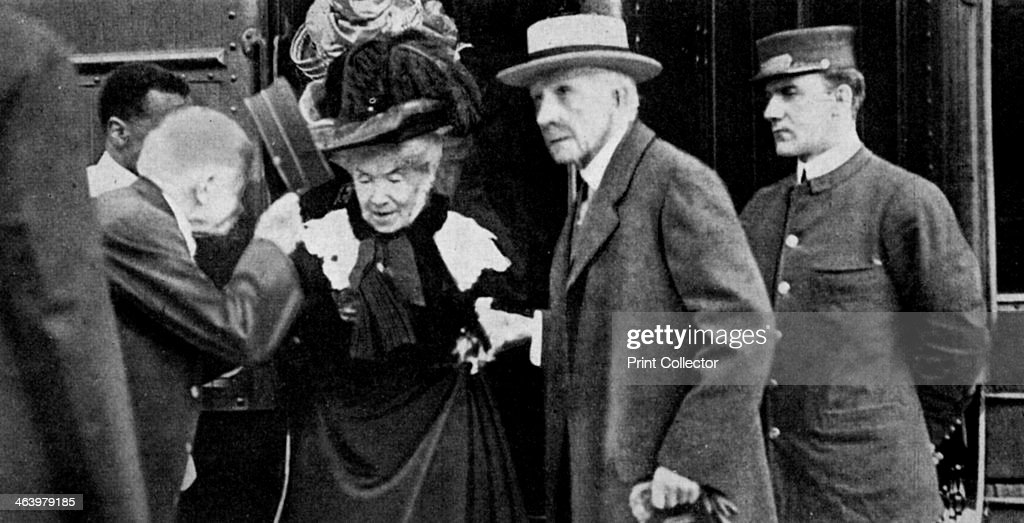 American tycoon John D Rockefeller and his wife arriving at Cleveland Ohio 1912 Rockefeller made his fortune in the petroleum industry He founded...