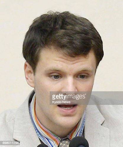 American university student Otto Warmbier shown in this photo taken in February 2016 during a press conference in Pyongyang died at a hospital in his...