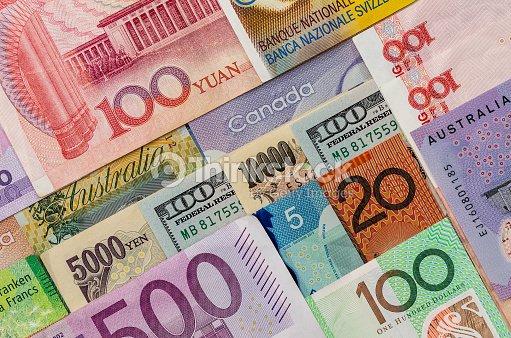 American Us Canadian Australian Dollar Euro Anese Yen And Chinese Yuan Banknote