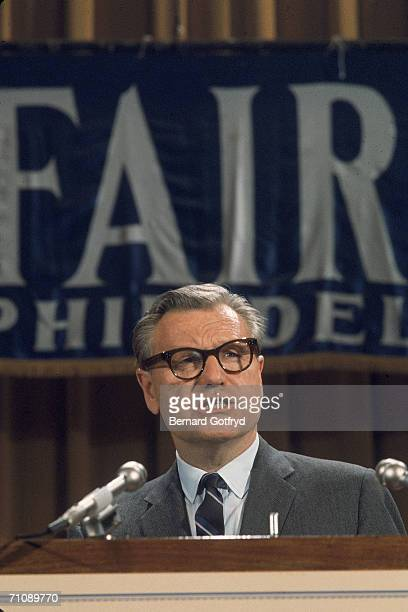 American vice president and governor of New York state Nelson Rockefeller speaks from the podium during a campaign rally at a Sheraton Hotel during...