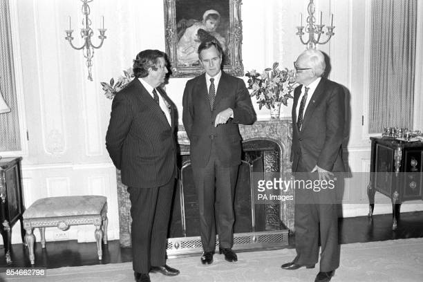American VicePresident George HW Bush meets Labour leader Michael Foot and Denis Healey