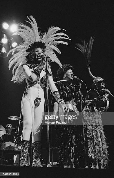 American vocal group Labelle performing on stage London 11th March 1975 Left to right Nona Hendryx Sarah Dash and Patti Labelle