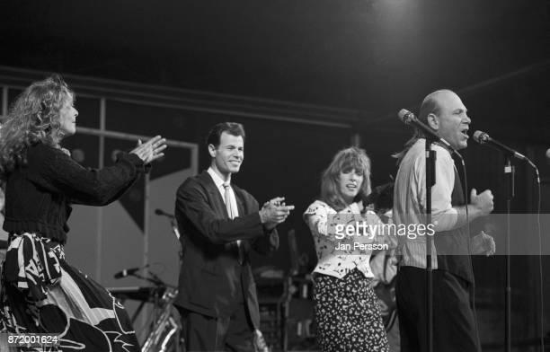 American vocal group Manhattan Transfer performing at Tivoli Gardens Copenhagen Denmark July 1989 From left to right Janis Siegel Alan Paul Cheryl...