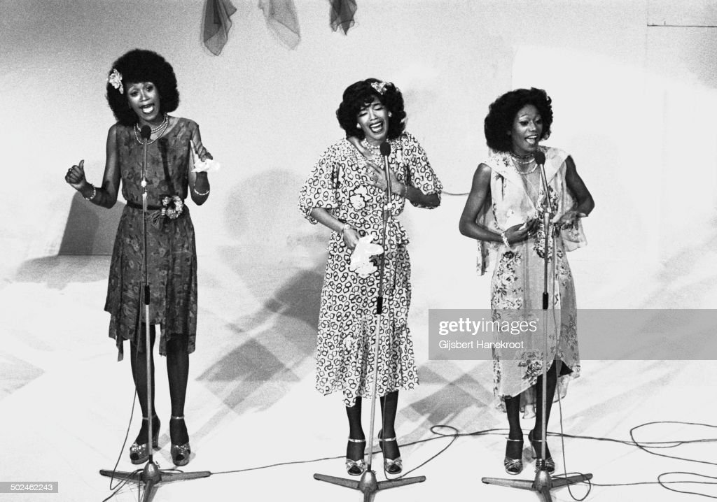 American vocal group The Pointer Sisters posed in a TV studio in Hilversum Netherlands in 1975