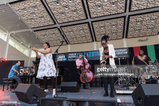 American vocalist Charenee Wade leads her quintet during a performance at the 25th Annual Charlie Parker Jazz Festival in Harlem's Marcus Garvey Park...