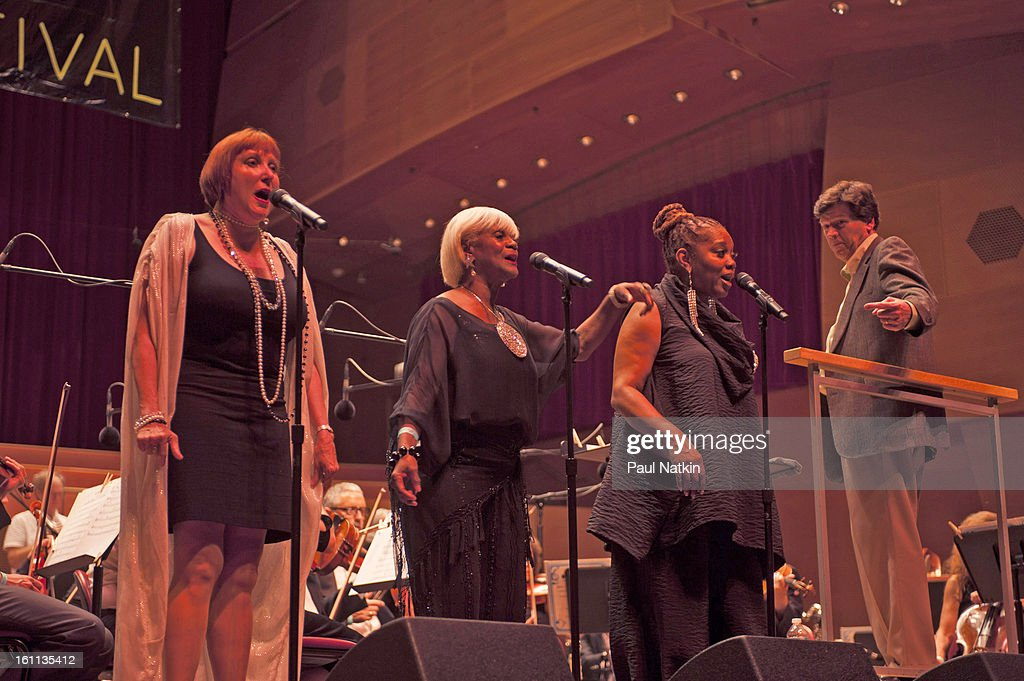 American vocalist Dee Alexander (second right) and unidentified others perform at the Pritzker Pavillion, Chicago, Illinois, August 30, 2012.