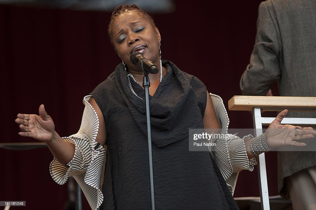 American vocalist Dee Alexander performs at the Pritzker Pavillion, Chicago, Illinois, August 30, 2012.