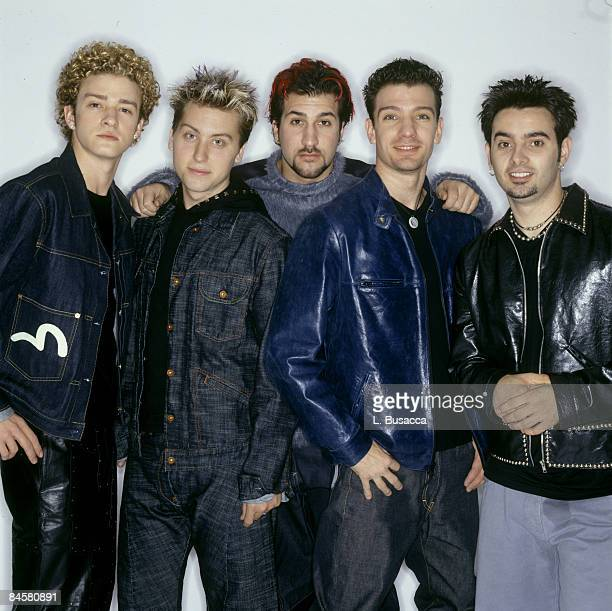 Justin Timberlake Lance Bass Joey Fatone JC Chasez and Chris Kirkpatrick of Nsync pose for a photoshoot circa 1999 in New York City