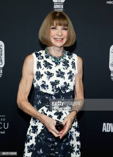 American Vogue EditorinChief Dame Anna Wintour attends 28th Annual Adweek Brand Genius Gala at Cipriani 25 Broadway on October 18 2017 in New York...