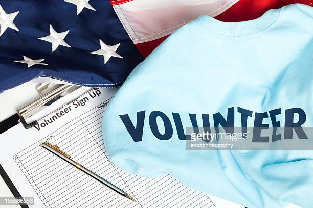 American volunteer list and shirt