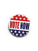 American 'vote now' button badge