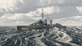 Computer generated 3D illustration with an American warship of World War II in the stormy sea