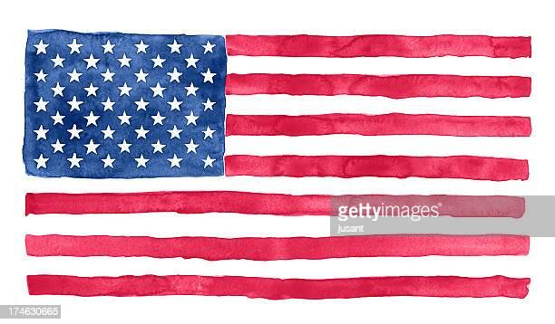Bandeira de aguarela americano