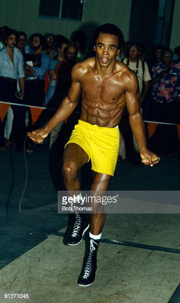 American welterweight boxer Sugar Ray Leonard training in Las Vegas circa 1980