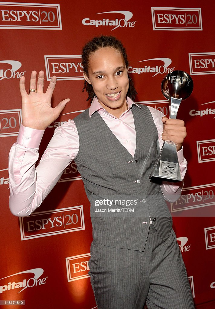 American women's college basketball player <a gi-track='captionPersonalityLinkClicked' href=/galleries/search?phrase=Brittney+Griner&family=editorial&specificpeople=6836945 ng-click='$event.stopPropagation()'>Brittney Griner</a>, winner of the Best Female Athlete Award poses backstage during the 2012 ESPY Awards at Nokia Theatre L.A. Live on July 11, 2012 in Los Angeles, California.