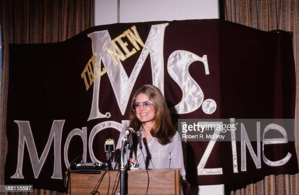 American women's rights activist and author Gloria Steinem speaks from a podium at a press conference about Ms magazine which she cofounded 1980s