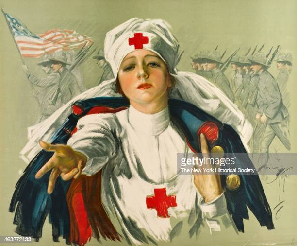 American World War I poster for the Red Cross shows a Red Cross nurse reaching out as soldiers march behind 1918