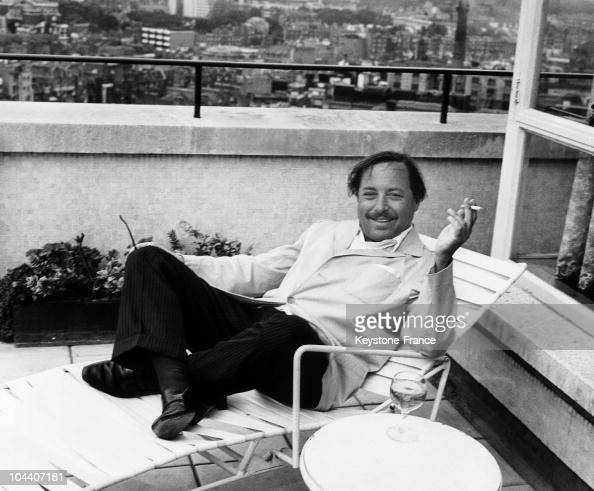 American writer and playwright Tennessee WILLIAMS on the roof of the Hotel Carlton towers in London in July 1962 The writer was in England for the...