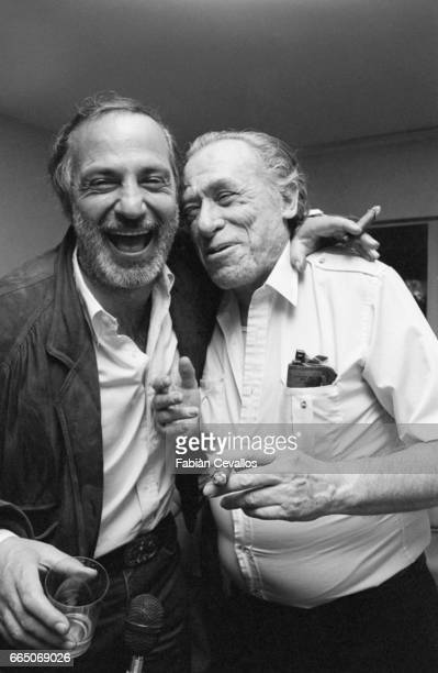 American writer Charles Bukowski sharing a laugh with actor Ben Gazzara during a meeting to discuss Marco Ferreri's film adaptation of Bukowski's book Tales of Ordinary Madness.