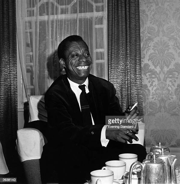 American writer James Baldwin during an interview at the Whitehall Hotel Bloomsbury Square London