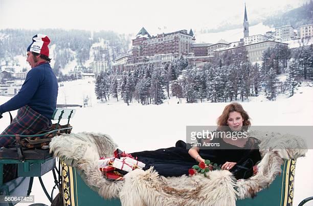 Americanborn opera singer Karen Davis arrives at the Palace Hotel in a vintage horsedrawn sleigh St Moritz Switzerland March 1978