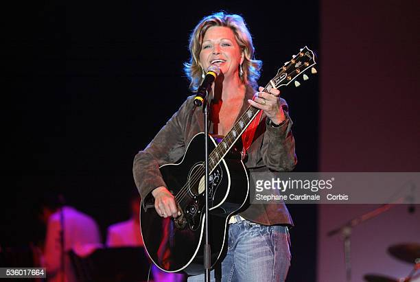 Americanborn singer and actress Jeane Manson performs on stage at the concert celebrating the victory of Nicolas Sarkozy in the second and final...
