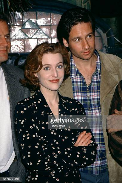 AmericanBritish actress Gillian Anderson and American actor David Duchovny attend an 'XFiles' soundtrack party circa March 1996 in Venice California