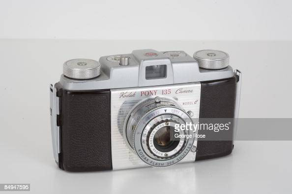 Americanmade Kodak 'Pony 135' Model C 35mm film rangefinder camera with an Anaston 44mm f35 lens is seen in this 2009 Healdsburg California studio...