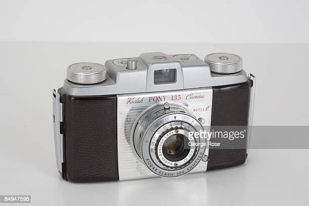 Americanmade Kodak 'Pony 135' Model C 35mm film rangefinder camera with an Anaston 44mm f35 lens is seen in this 2009 Healdsburg California studio...