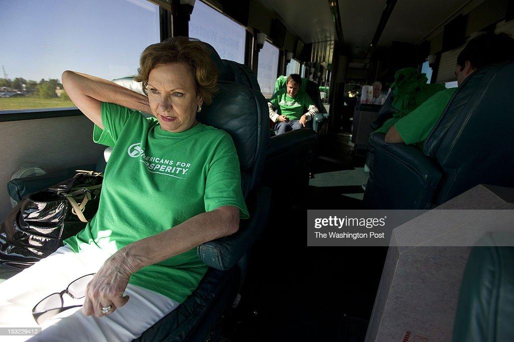 Americans for Prosperity field coordinator Joanne Filiatreau takes a break on the political advocay group's tour bus before a rally in Jonesboro AR...