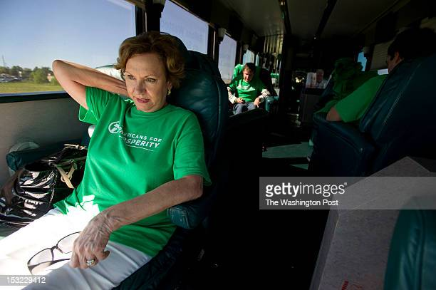 Americans for Prosperity field coordinator Joanne Filiatreau takes a break on the political advocay group's tour bus before a rally in Jonesboro AR...