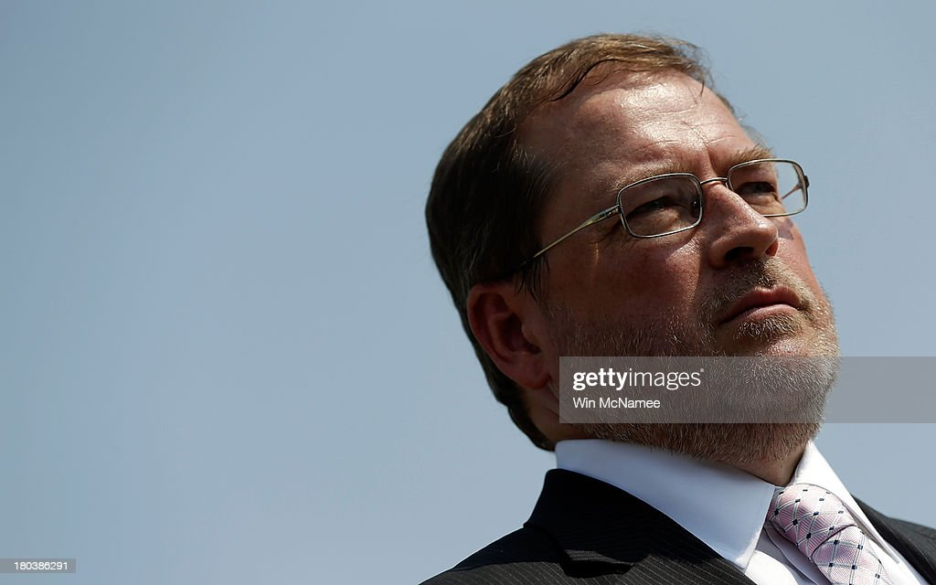 Americans for Tax Reform President <a gi-track='captionPersonalityLinkClicked' href=/galleries/search?phrase=Grover+Norquist&family=editorial&specificpeople=779501 ng-click='$event.stopPropagation()'>Grover Norquist</a> attends a press conference discussing the taxation of marijuana businesses outside the U.S. Capitol September 12, 2013 in Washington, DC. The National Cannabis Industry Association is seeking tax reform to change the current policy that requires medical marijuana providers to pay taxes based on gross receipts rather than income.