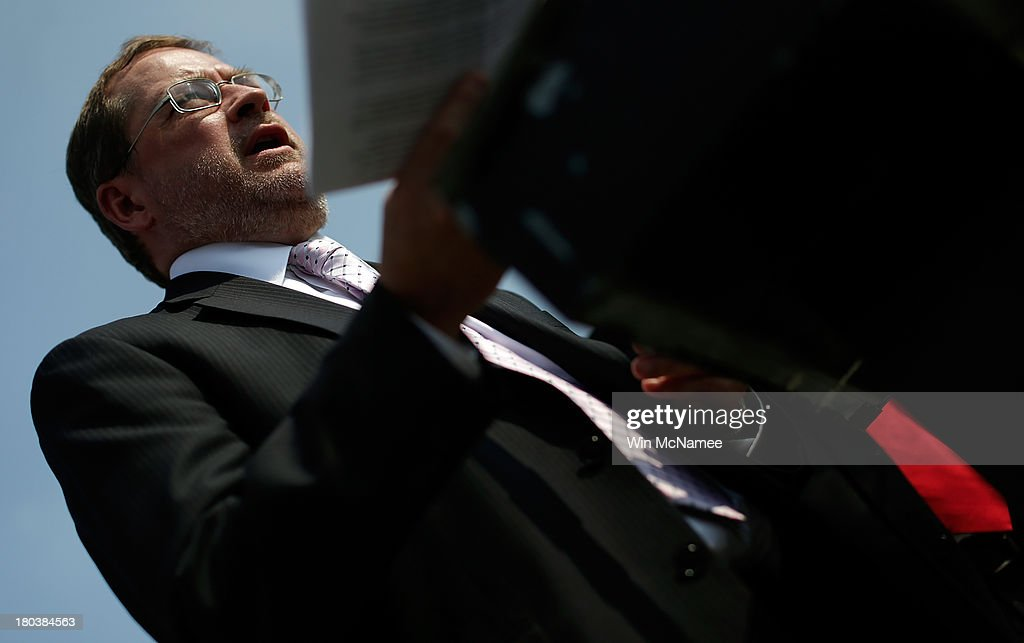 Americans for Tax Reform President <a gi-track='captionPersonalityLinkClicked' href=/galleries/search?phrase=Grover+Norquist&family=editorial&specificpeople=779501 ng-click='$event.stopPropagation()'>Grover Norquist</a> speaks during a press conference discussing the taxation of marijuana businesses outside the U.S. Capitol September 12, 2013 in Washington, DC. The National Cannabis Industry Association is seeking tax reform to change the current policy that requires medical marijuana providers to pay taxes based on gross receipts rather than income.
