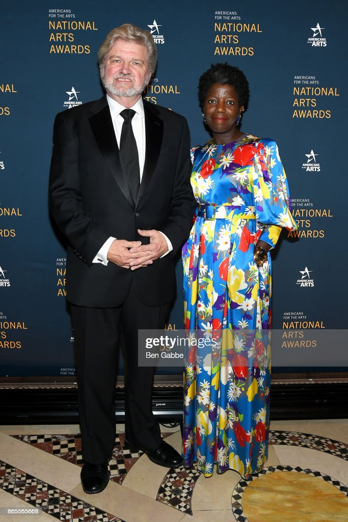 Americans for the Arts President and CEO Robert Lynch (L) and curator Thelma Golden attend the National Arts Awards at Cipriani 42nd Street on October 23, 2017 in New York City.