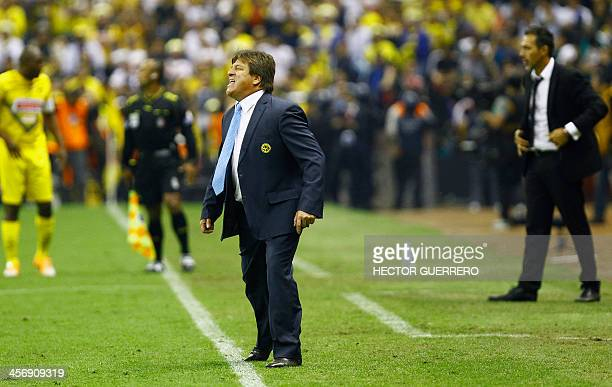 America's coach Miguel Herrera insults the referee after being dismissed from the Mexican Apertura 2013 tournament final football match against Leon...