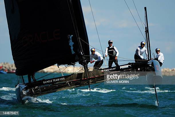 America's Cup defender US Team Oracle Bundock competes during the America's Cup World Series MatchRacing in Venice's lagoon on May 17 2012 The Venice...