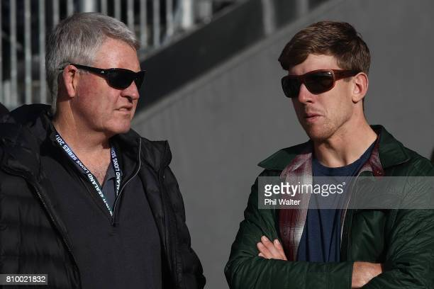 America's Cup winning sailor Peter Burling from Team New Zealand chats with NZR CEO Steve Tew during the New Zealand All Blacks Captains Run at Eden...