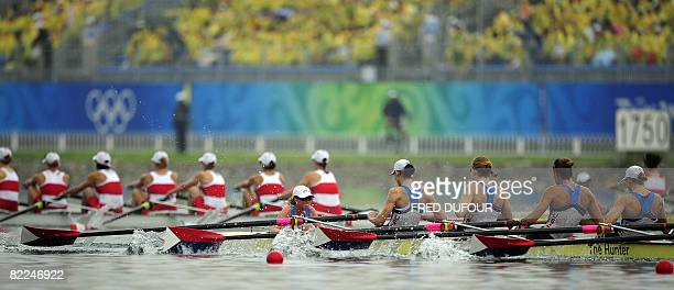 America's Erin Cafaro Lindsay Shoop Anna Goodale Elle Logan Anne Cummins Susan Francia Caroline Lind Caryn Davies and Mary Whipple compete in the...