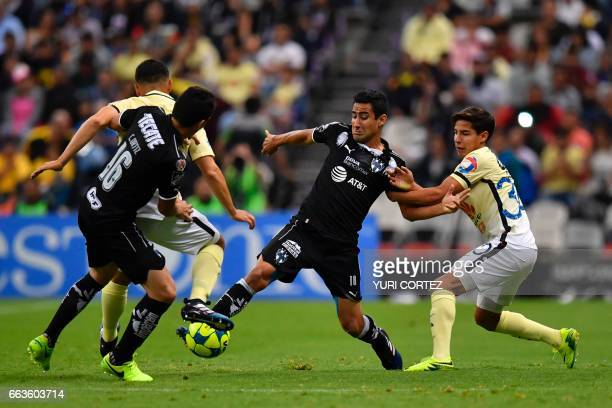 America's forward Diego Lainez vies for the ball with Monterrey's defender Luis Fernando Fuentes during their Mexican Clausura 2017 Tournament...