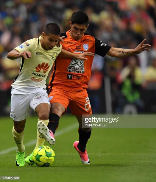America's forward Diego Lainez vies for the ball with Pachuca's midfielder Victor Guzman during their Mexican Clausura 2017 Tournament football match...