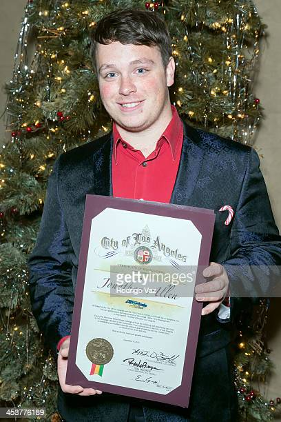 'America's Got Talent' star Jonathan Allen receives the Certificate of Recognition from the City of Los Angeles at Rockwell Table Stage on December 4...