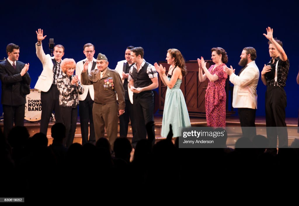 America's Longest Working 'Rosie the Riveter' 97 year old Elinor Otto, decorated Battle of the Bulge Purple Heart recipient 93 year old Luke Gasparre, Corey Cott, Laura Osnes and Beth Level on stage at 'Bandstand' on Broadway at Bernard Jacobs Theater on August 11, 2017 in New York City.