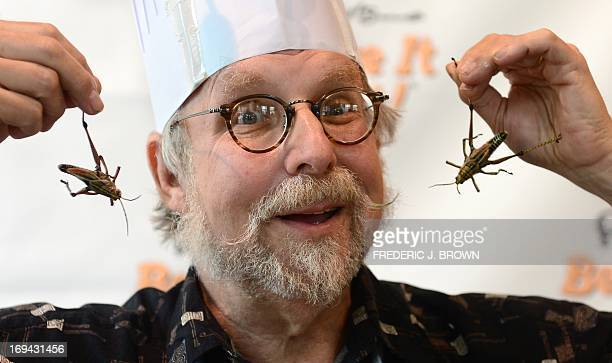 """America's master chef of bug cooking and author of the EataBug Cookbook David G Gordon """"The Bug Chef"""" displays a couple of crickets which he likes to..."""