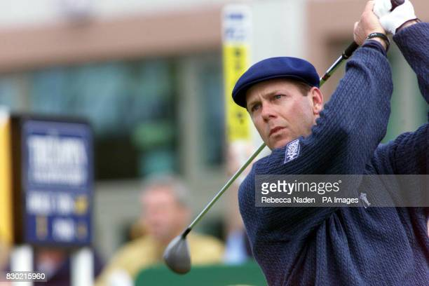 America's Payne Stewart drives from the 1st tee during the first day of the 1999 British Open Golf Championship at Carnoustie Scotland where he...